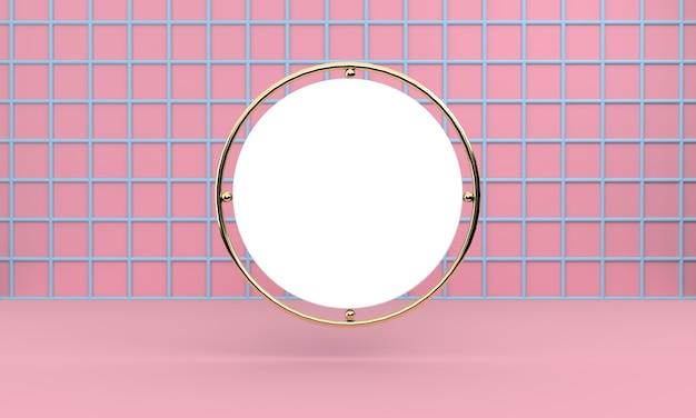 Cercle blanc accroché sur une grille bleue sur un mur rose