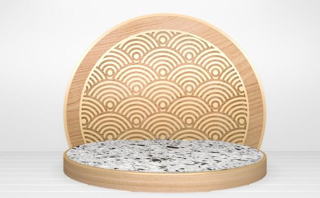 Le cercle blanc en bois podium abstrait géométrique minimal.