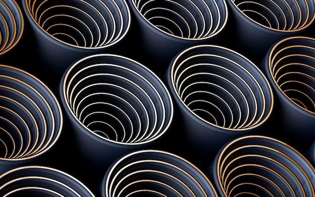 Cercle bleu foncé et brun motif géométrique abstrait papier peint rendu 3d