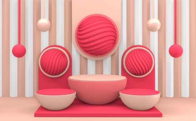 Cercle design minimal podium rose. rendu 3d