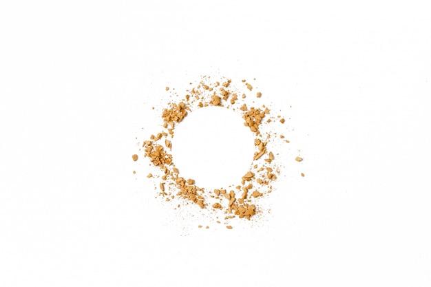 Cercle doré texture de fard à paupières écrasé.