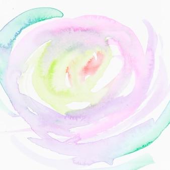 Cercle fait avec un coup de pinceau de couleur différente isolé sur fond blanc