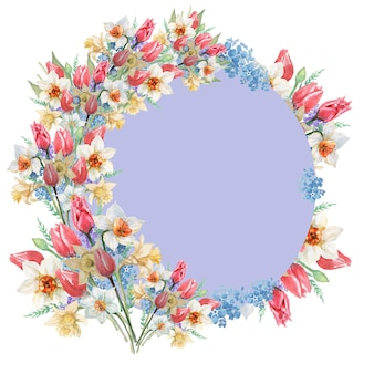 Cercle gris avec cadre de fleurs tulipes et jonquilles