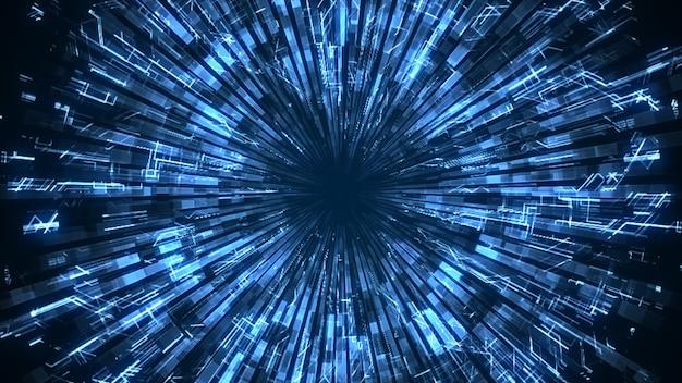 Un cercle lumineux bleu lisse abstrait grandit et amortit