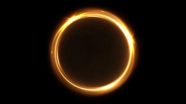Cercle de néon rotatif abstrait de couleur or. bague lumineuse. tunnel spatial. ellipse de couleur led. illustration 3d. trou vide. portail lumineux. boule chaude. rotation vacillante.