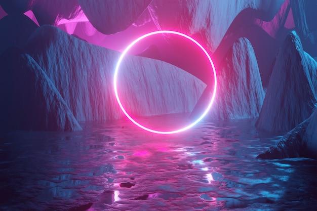 Cercle de néon rougeoyant parmi les montagnes
