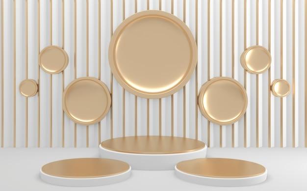 Cercle or blanc géométrique maquette podium vide rendu 3d