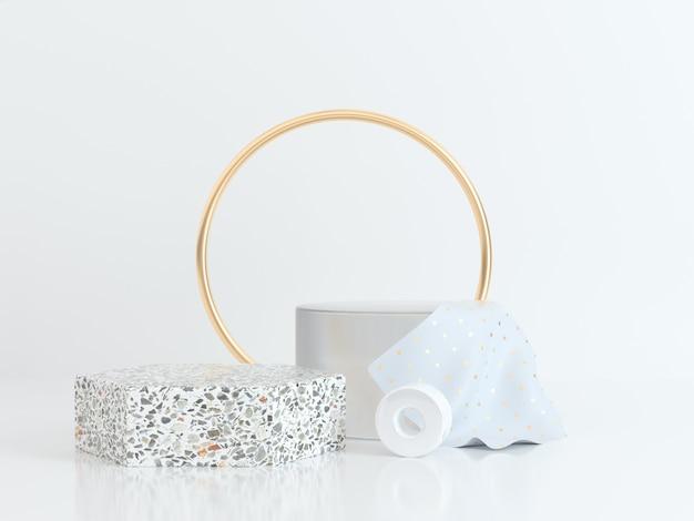 Cercle or blanc scène forme géométrique rendu 3d marbre or clair
