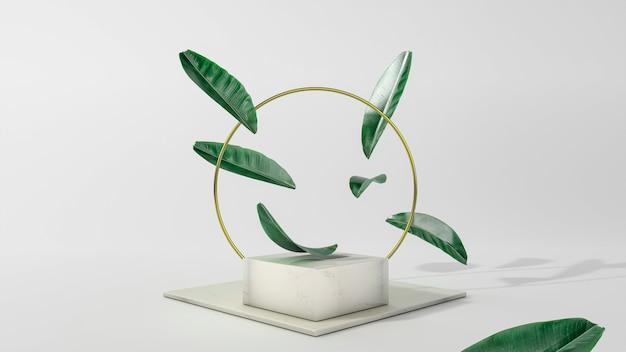 Cercle d'or et podium avec des feuilles qui tombent illustration 3d. vue de face. marbre cquare isolé sur fond. scène minimale abstraite.