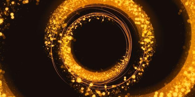 Cercle de paillettes d'or abstrait effet de lumière tourbillonnant illustration 3d de poussière d'étoile étincelante