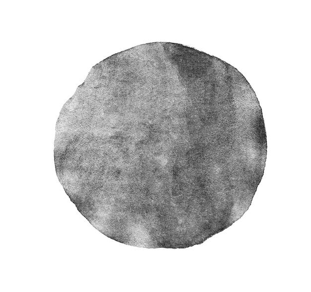 Cercle peint aquarelle gris monochrome isolé sur blanc