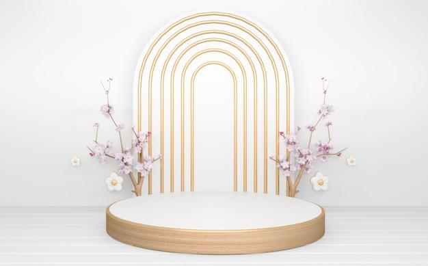 Cercle podium en bois blanc minimal géométrique et décoration abstraite de style japonais.