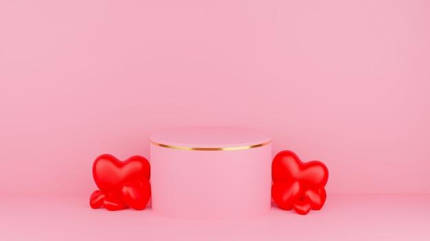 Cercle podium couleur pastel rose avec bord or et coeur rouge