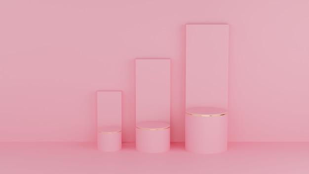 Cercle podium rose couleur pastel et bord or pour produit