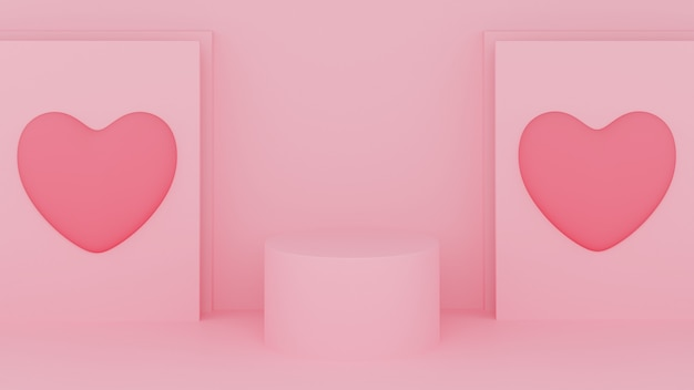 Cercle podium rose couleur pastel avec coeur rose et table rose. concept de la saint-valentin. illustration de rendu 3d