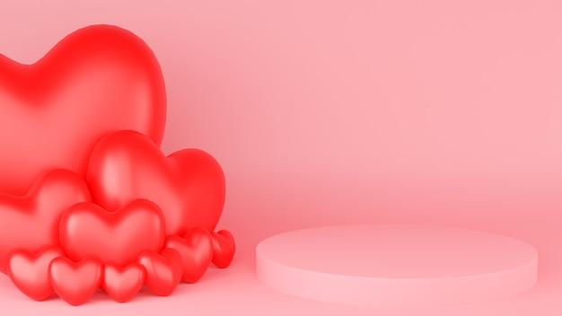 Cercle podium rose couleur pastel coeur rouge