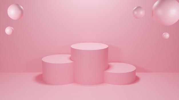 Cercle podium rose couleur pastel avec trois rangs et sphères. illustration de rendu 3d.