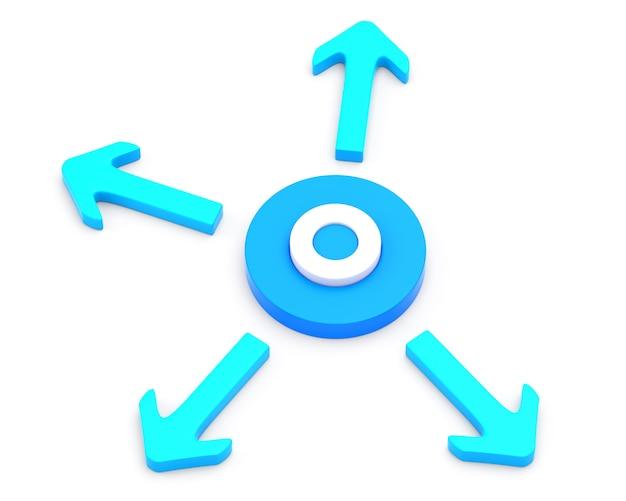 Cercle avec quatre flèches