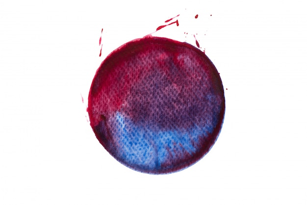 Cercle rouge avec couleur de peinture bleue