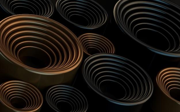 Cercle sombre de luxe abstrait motif géométrique papier peint rendu 3d