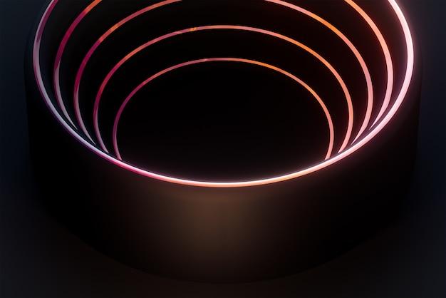 Cercle de vague sombre et lumière dégradée rougeoyante motif géométrique abstrait papier peint rendu 3d