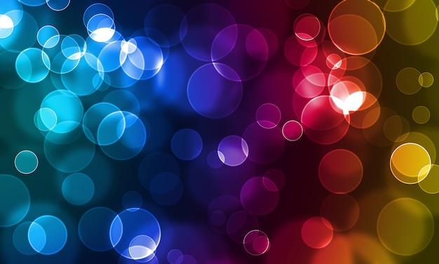 Cercles lumineux abstraits sur un fond coloré