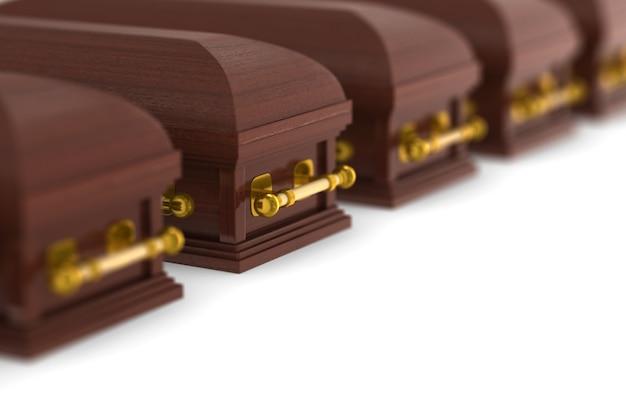 Cercueils de rangée. rendu 3d isolé