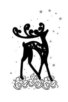 Cerf autocollant marchant dans la neige, étoiles filantes. impression pour vêtements ou emballages.