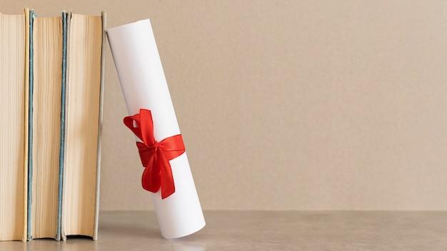 Certificat de diplôme d'études copie espace fond