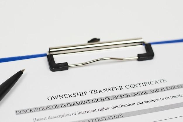 Certificat de transfert de propriété