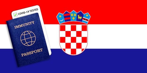 Certificat de voyage après une pandémie pour les personnes qui ont eu un coronavirus ou qui ont fait un vaccin et résultat du test pour covid-19 sur le drapeau de la croatie