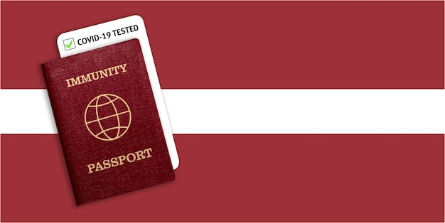Certificat de voyage après une pandémie pour les personnes qui ont eu un coronavirus ou qui ont fait un vaccin et résultat du test pour covid-19 sur le drapeau de la lettonie