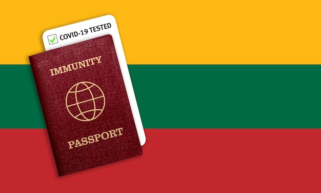 Certificat de voyage après une pandémie pour les personnes qui ont eu un coronavirus ou qui ont fait un vaccin et résultat du test pour covid-19 sur le drapeau de la lituanie