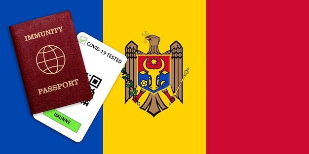 Certificat de voyage après une pandémie pour les personnes qui ont eu un coronavirus ou qui ont fait un vaccin et résultat du test pour covid-19 sur le drapeau de la moldavie