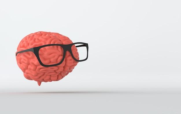 Cerveau 3d dans le rendu de lunettes de soleil
