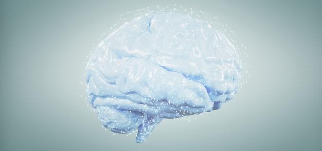 Cerveau artificiel rendu 3d isolé sur un fond