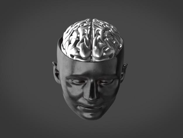 Cerveau de chrome dans la tête en métal, cerveau abstrait rendu 3d