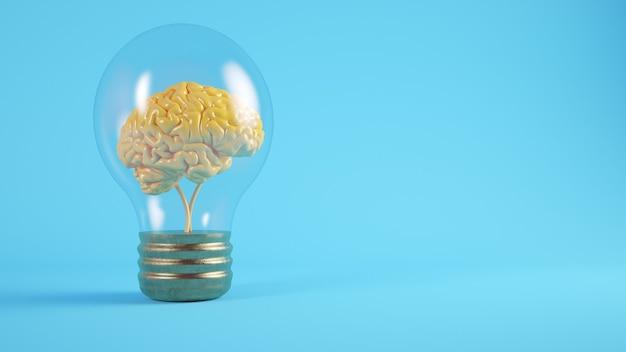 Cerveau sur le concept de rendu 3d ampoule