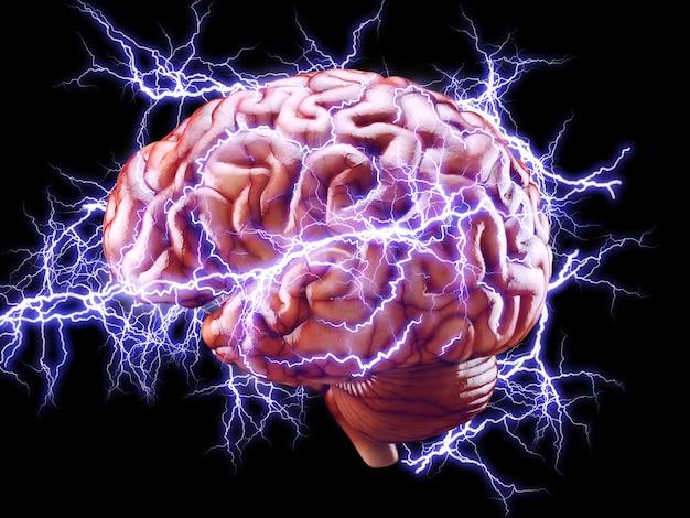 Cerveau avec éclairs, concept de remue-méninges