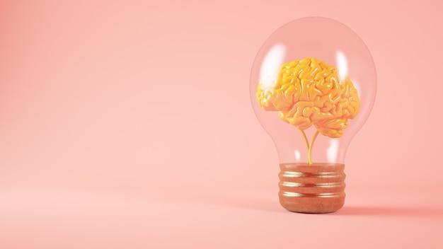 Cerveau sur fond rose concept ampoule rendu 3d