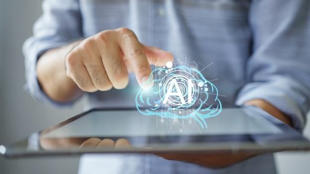 Cerveau Holographique Sur Tablette Numérique Photo Premium