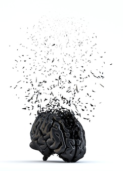 Cerveau humain brisé. notion de stress. isolé
