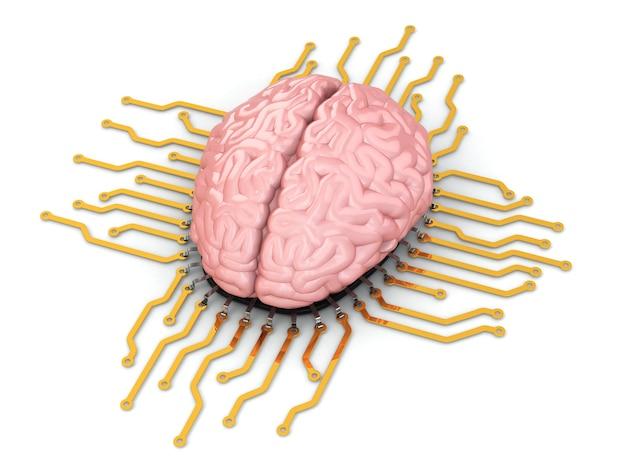 Cerveau humain comme puce informatique. concept de processeur. 3d