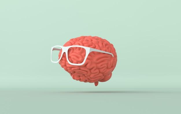 Cerveau en illustration de rendu de lunettes de soleil