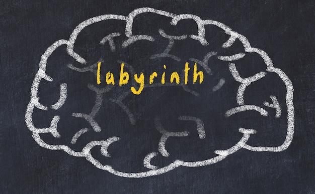 Cerveau avec inscription labyrinthe