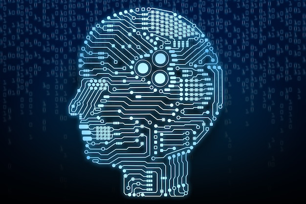 Cerveau d'intelligence artificielle ou circuit imprimé en forme de tête