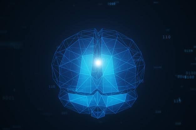 Cerveau d'intelligence artificielle numérique dans un nuage de données binaires
