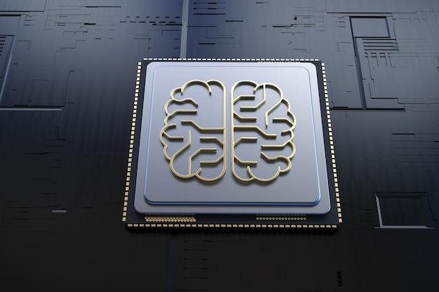 Cerveau d'intelligence artificielle d'or de rendu 3d ou carte de circuit imprimé en forme de cerveau