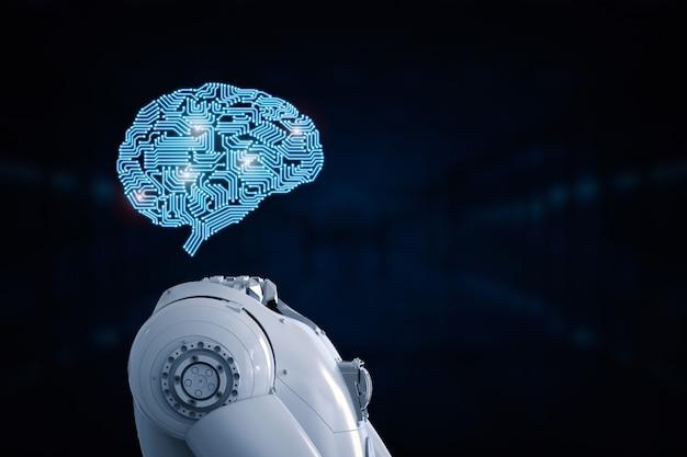 Cerveau d'intelligence artificielle de rendu 3d ou cerveau ai
