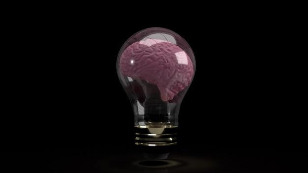 Le cerveau à l'intérieur de l'ampoule pour l'éducation ou le rendu 3d de contenu sci
